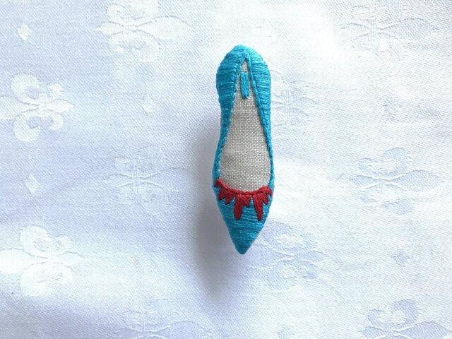 shoe shoe shoe刺繍ブローチNo.73(アクア)の画像1枚目