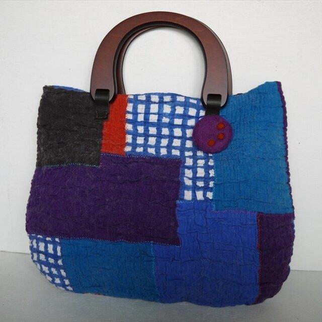 布フェルトのウッドハンドルトートバッグ(ブルー系)の画像1枚目