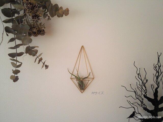 北欧インテリア「真鍮製のヒンメリ 壁掛けエアプランツハンガー Mサイズ(20.5cm)」の画像1枚目
