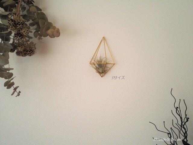 北欧インテリア「真鍮製のヒンメリ 壁掛けエアプランツハンガー Sサイズ(13.5cm)」の画像1枚目
