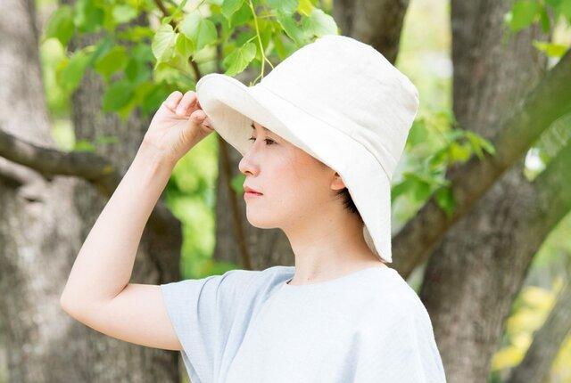 Organic Cotton 日よけ帽【リネンコットンWガーゼ】の画像1枚目