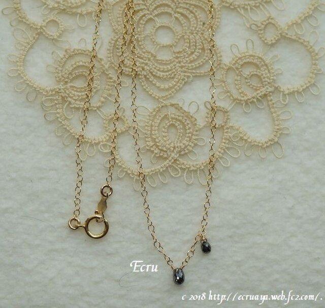 *花曇*宝石質ブラックダイアモンドのネックレスの画像1枚目
