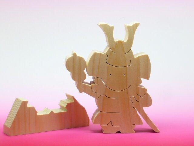 送料無料 木のおもちゃ ヒノキの鎧武者 五月人形の画像1枚目