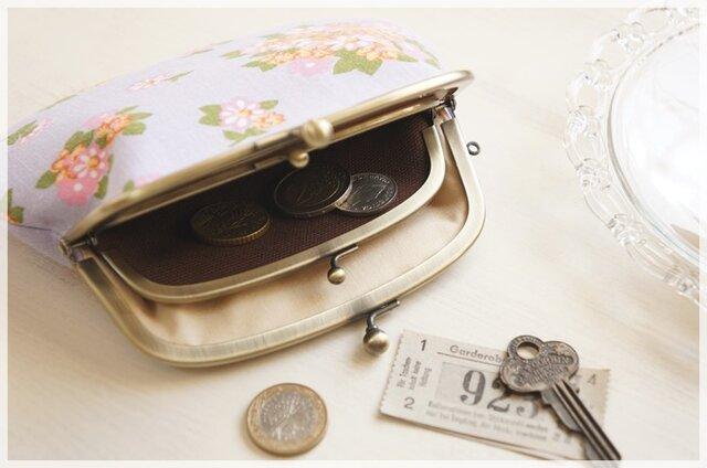 ■花柄ヴィンテージ生地の親子がま口財布・ラベンダーにピンクの小花■の画像1枚目