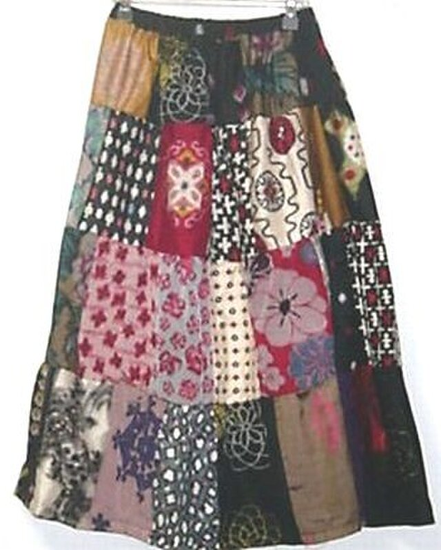 Sold Out着物リメイク♪銘仙色々パッチワークティアードスカート♪ハンドメイドの画像1枚目