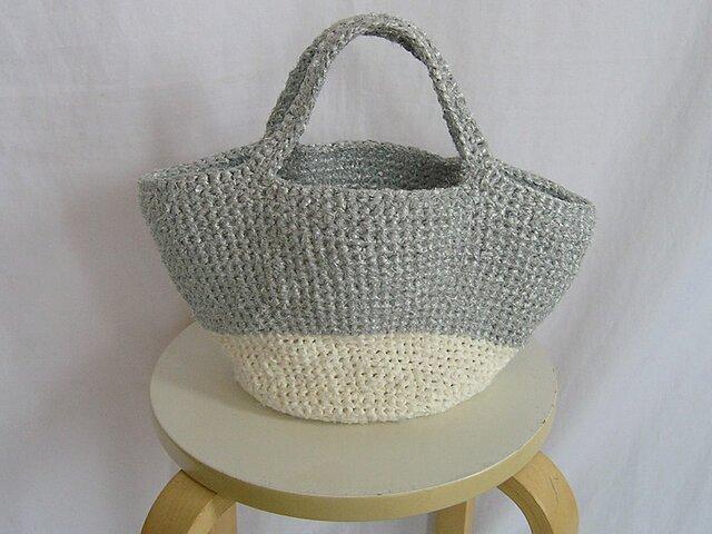 ¶ & crochet ¶ 裂き編み シルバー/ホワイト軽いトートバッグの画像1枚目