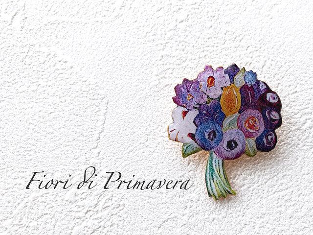 花束のブローチ(紫/ボックス入)の画像1枚目