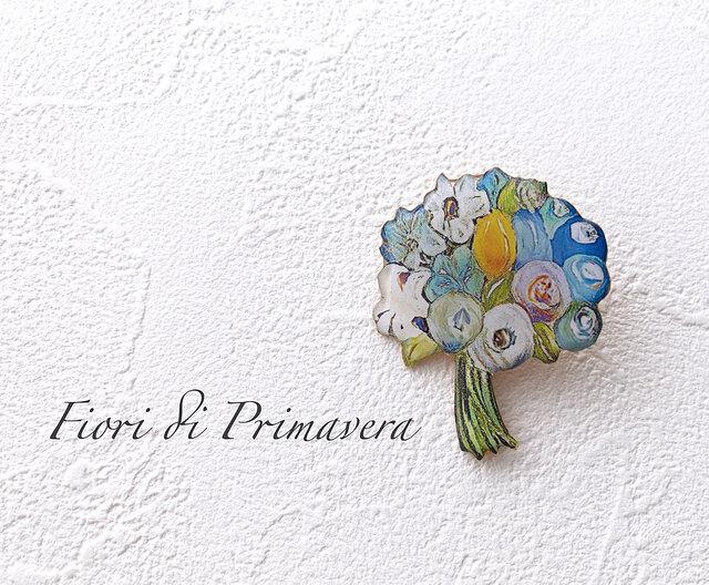 花束のブローチ(青/ボックス入)の画像1枚目