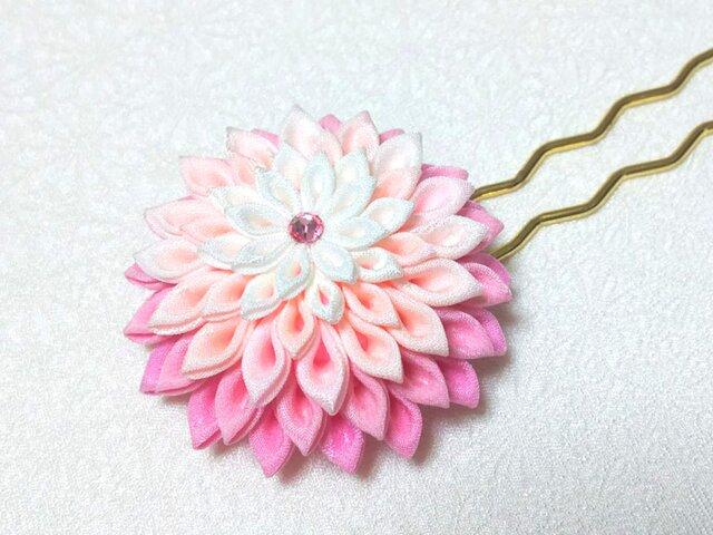 つまみ細工の簪(かんざし)*ピンク*の画像1枚目