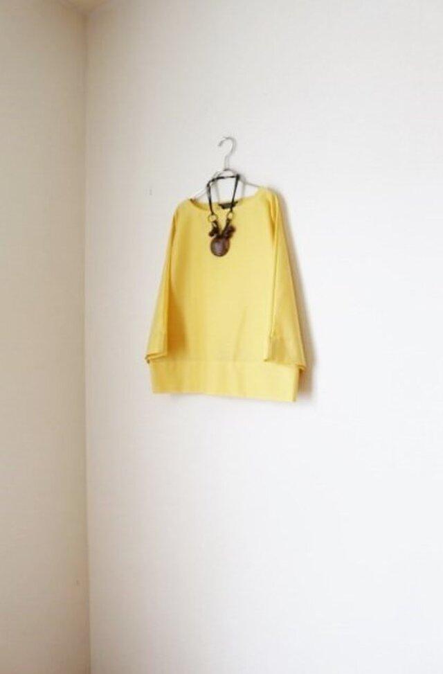 春夏 たっぷり袖のドルマン トップス レモンイエローの画像1枚目