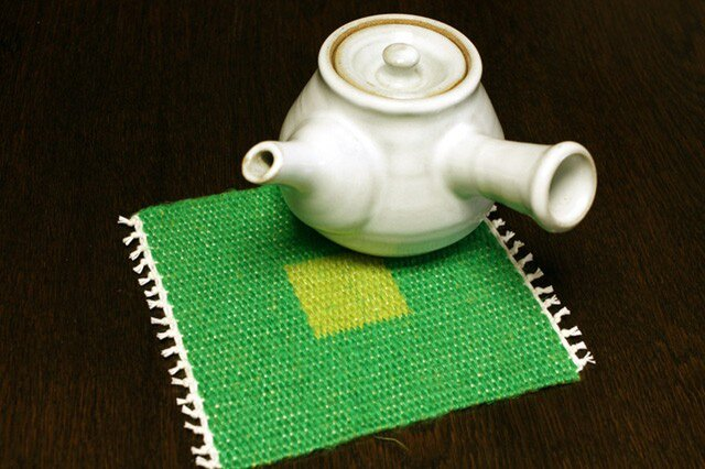 手織り リバーシブルのポットマット(リネン) No.3の画像1枚目