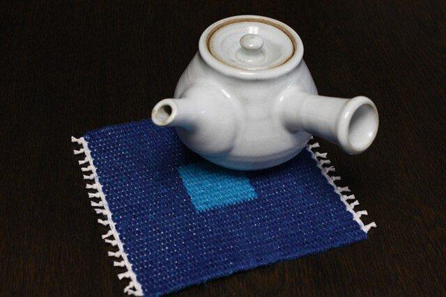 手織り リバーシブルのポットマット(リネン) No.2の画像1枚目