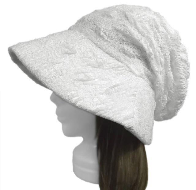 膨れ織レースニット/女優帽子(ゆったり)◆ホワイトの画像1枚目