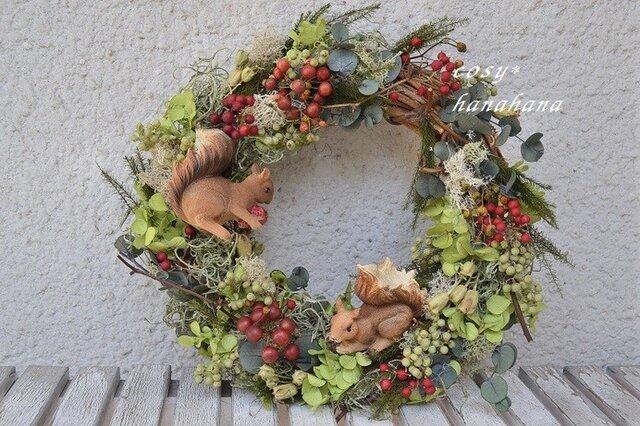 【母の日にも】子リスの森wreathの画像1枚目