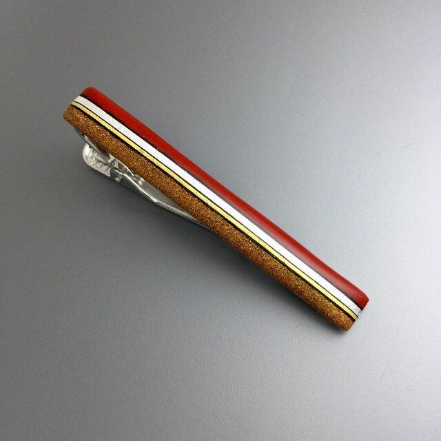 漆ネクタイピン「箔ライン・赤」の画像1枚目