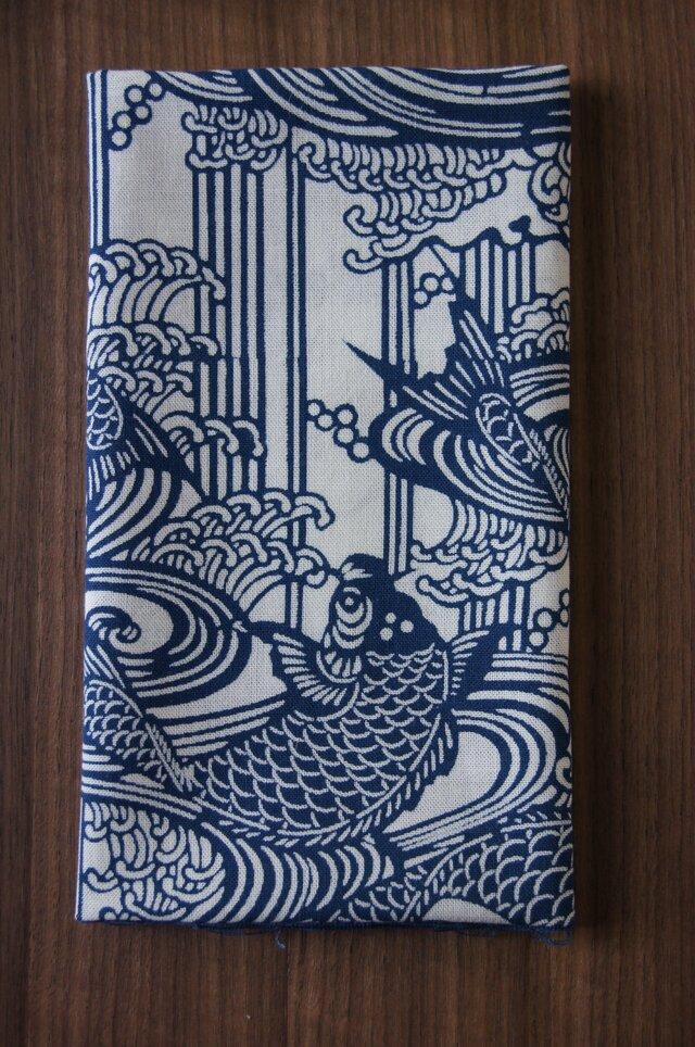 天然藍の型染め手拭い 鯉の滝登りの画像1枚目