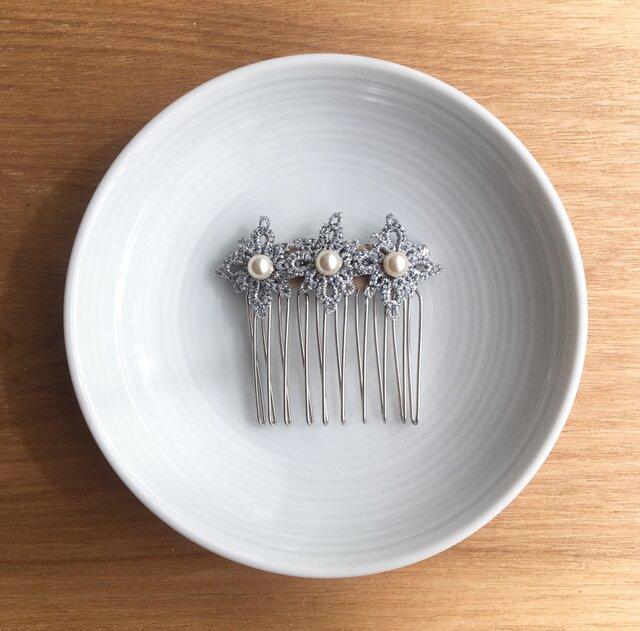 tatting lace hair accessory【silver】の画像1枚目