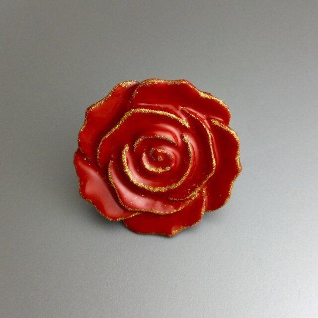 漆ピンブローチ(赤・薔薇)の画像1枚目