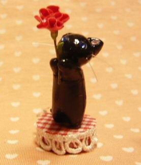 にゃんこのしっぽ〇母の日〇カーネーション〇黒猫の画像1枚目
