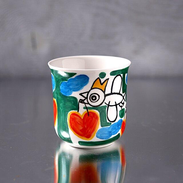 ハートを運ぶ白い鳥(緑の草原)・マグカップの画像1枚目