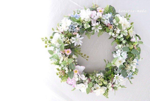 再販2 花のささやき 白いデージーと紫陽花のリース:ピンクと白 リースの画像1枚目