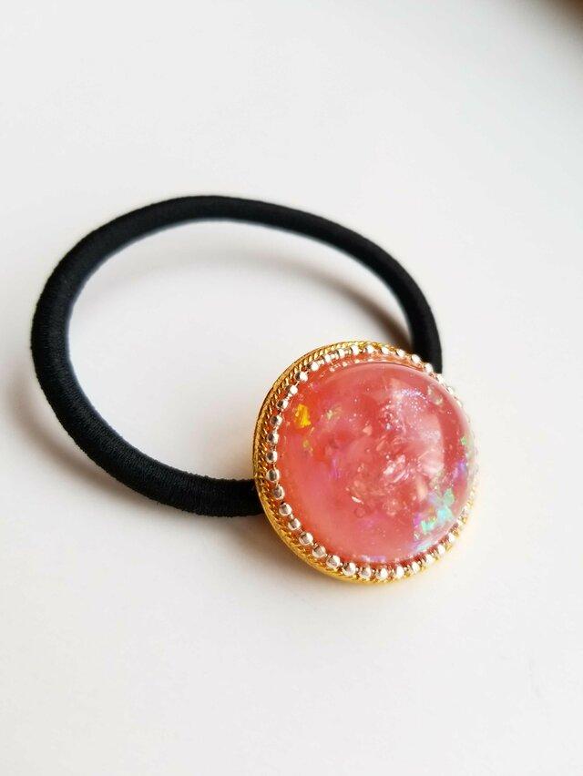 いちごみるく pink ヘアゴム 半球ドーム型 レジンの画像1枚目