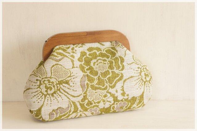 ■2WAYウッドがま口バッグ・ジャガードのグリーンの花柄■の画像1枚目