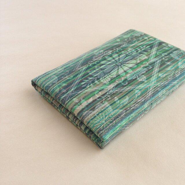 絹手染カード入れ(横・茶緑系)の画像1枚目