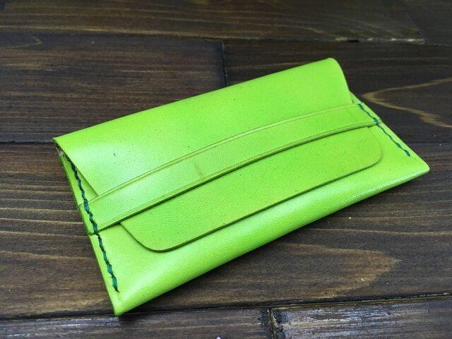 本革製フラップ付2層カードケース typeB【若草色】の画像1枚目