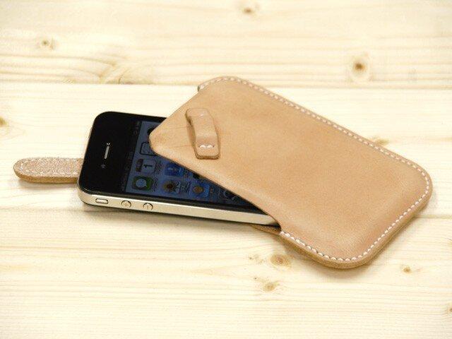 ハンドメイド iPhone4・4S用 レザーケース(ヌメ・白糸)の画像1枚目