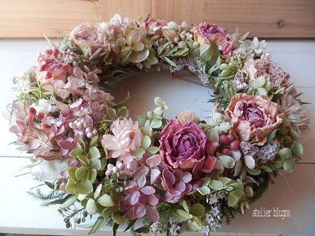 八ヶ岳〜(定形外発送)薔薇とラナンキュラスのWreathの画像1枚目