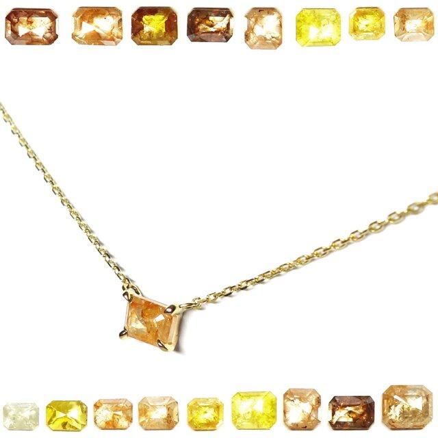 選べるエメカットナチュラルダイヤK10ネックレス【Pio by Parakee】 Rustic diamond necklaceの画像1枚目