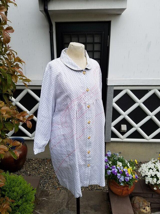着物リメイク 手作り 白がすり チュニックの画像1枚目