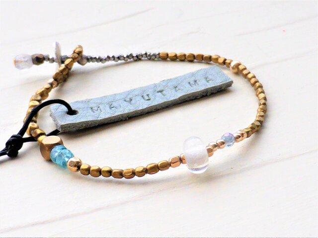 フランスアンティーク×エチオピア真鍮×ブルーアパタイトglassbracelet(shizuku )送料無料の画像1枚目