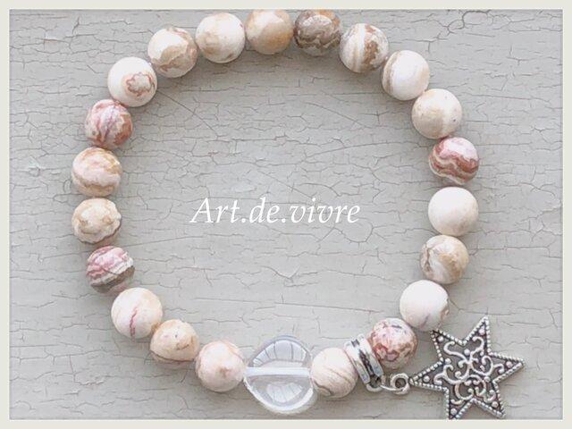 ハートの水晶&クレイジーアゲート天然石ブレスレットの画像1枚目