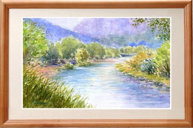 水彩画原画 初夏の穂高川の画像1枚目