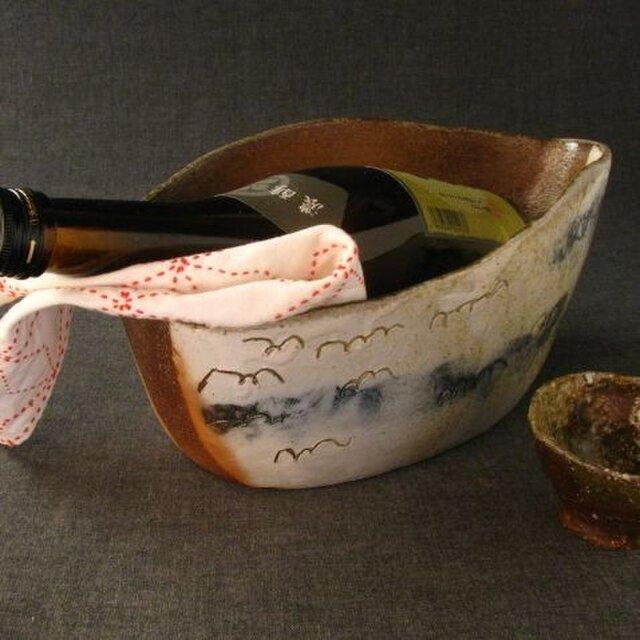 【送料無料】陶器 焼締めワインクーラー(1) 陶芸家オリジナル 1点ものの画像1枚目