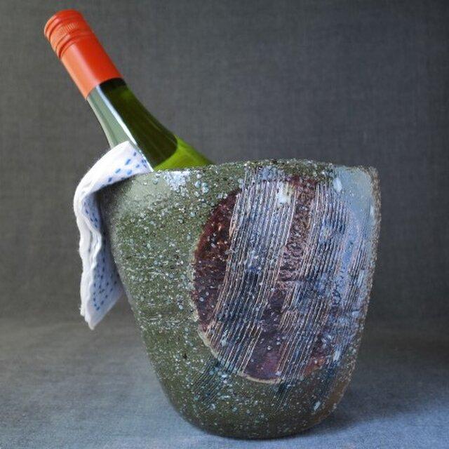【送料無料】焼締めワインクーラー(27) 陶芸家オリジナル陶器の画像1枚目
