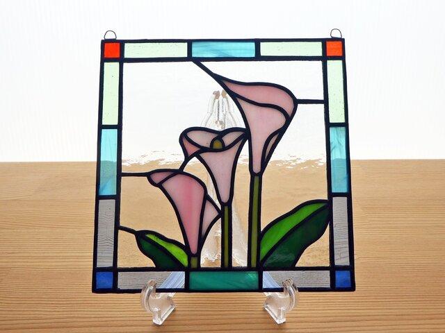 ステンドグラス ミニパネル カラー ピンク 15cmの画像1枚目
