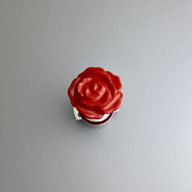 漆ピンブローチ(赤・薔薇)小の画像1枚目