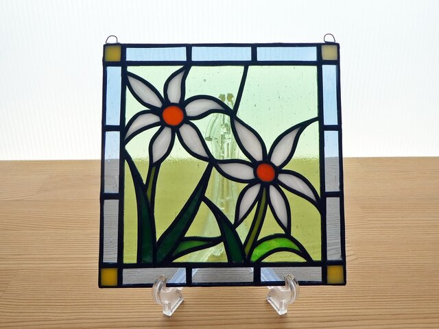 ステンドグラス ミニパネル 野花(白) 15cmの画像1枚目