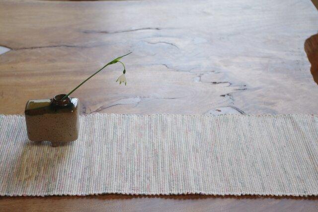 やさしい白 裂き織り 木綿 テーブルセンターの画像1枚目