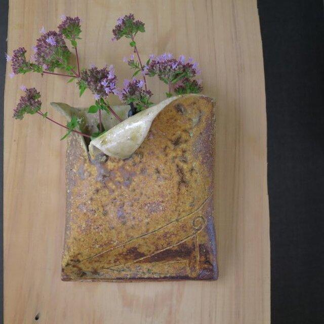 【送料無料】花器(69) 花生け 焼き締め掛け花 陶芸家オリジナル陶器の画像1枚目