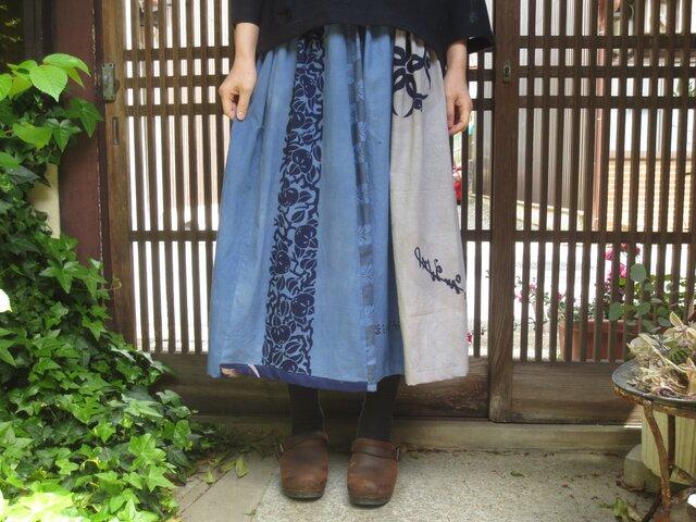 手ぬぐいリメイク☆エコ染料や柿渋染で夏に着たい涼しいスカート80㎝丈の画像1枚目