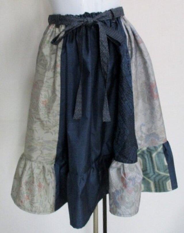 送料無料 大島紬の着物で作った膝丈スカート 3440の画像1枚目