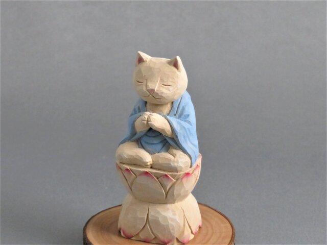 木彫りの合掌猫 袈裟を着た猫仏さま 仏像ねこ1802の画像1枚目