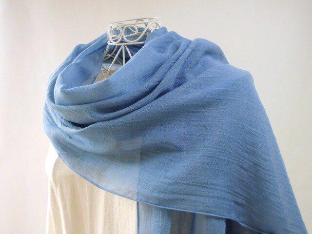 藍染め・明るい海色・綿麻・ロングストール・母の日ギフトも無料ラッピングの画像1枚目