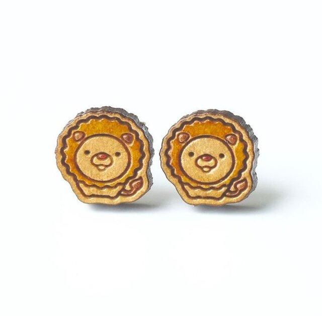『田田製作所』手作り レディースピアス ライオンの画像1枚目