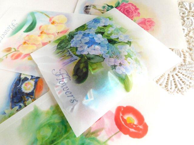 ワックスペーパー平袋3枚セット:花3の画像1枚目