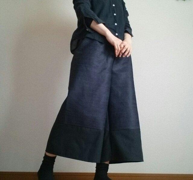 ガウチョパンツ大人のデニム裾黒生地ウエストゴムの画像1枚目
